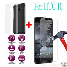 9H Tempered Glass LCD Screen Protector Flim +Clear TPU Gel Case Cover For HTC 10