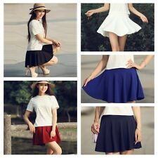 Women Chic Mini Flared Skirt Candy Color Stretch Waist Plain Pleated Short Dress