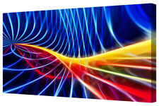 Colourful Bold Vivid Blue Abstract Energy Wave LARGE Framed Canvas Art Print A1