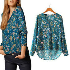 Womens Long Sleeve Cotton T-shirt V-neck Floral Print Blouse Loose Casual Tops