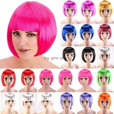 Women Lady BOB Short Full Head Wig Cosplay Costume Party Fancy Dress Pink Red FV