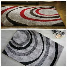 Modern Thick Soft Shaggy Cream Grey Brown Shiny Polyester Rug in 3 Sizes Carpet
