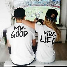 MR GOOD Or MRS LIFE Sweet T-Shirt Valentines Wedding Gift Couples Matching Tee
