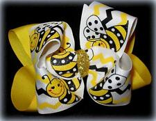 Yellow Bumble Bee Boutique Hair Bow Big Double Buzz Honey Summer Hairbow Party