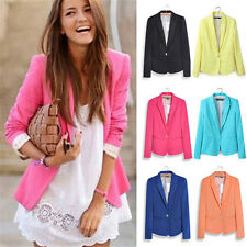 Fashion Womens Long Sleeve Candy Color Slim Blazer Casual Jacket Suit Coat