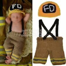Newborn Baby Girl Boy Crochet Knit Costume Photo Photography Prop Hat+ Pants Set