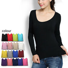 Sexy Women Plain Scoopneck Long Sleeve Show Thin Tight Round Neck T Shirt Top