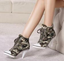 Womens Rivet High Heel Denim High Top Stiletos Camo ANkle Boots Shoes Sneakers 9