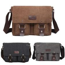Men's Casual Vintage Canvas Leather Satchel School Laptop Messenger Shoulder Bag