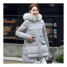 Plus Size Fur Collar A-line Middle Long Down Coatight Cloth  grey
