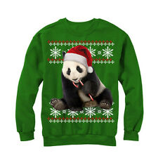 Lost Gods Ugly Christmas Sweater Panda and Candy Cane Mens Graphic Sweatshirt