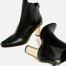 ZARA �� NEW AW16 LAMINATED BLACK HIGH HEEL LEATHER ANKLE BOOTS ��  Ref 6145/101
