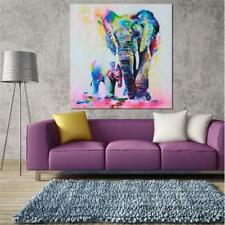 Square Canvas Elephant Wall Hanging Art Oil Painting Sketch Poster Picture Decor