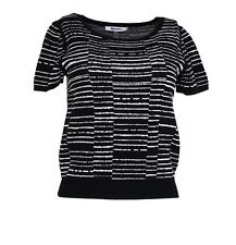 DKNYC NEW Black Womens US Size XS Pullover Striped Scoop Neck Sweater $79 122
