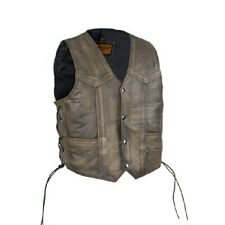 NEW BOYS GIRLS KIDS BROWN LEATHER VEST w/ SIDE LACES & INSIDE SLIP POCKET - DA94