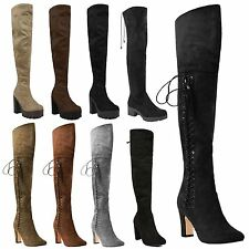 Ladies Stretch Over Knee Thigh High Heel Platform Lace Up Boots Heels Shoes Size