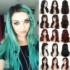 100% New Long Curly Wavy Straight Full Head Wig Cosplay Party Fancy Dress Blonde