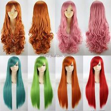 Thick Wig Long Curly Straight Cosplay Full Hair Wigs Halloween Party Fancy Dress