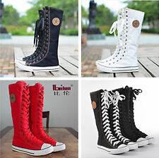 PUNK EMO Women Girl Shoes Canvas Flat Tall Boots Zip Lace Up Knee High Sneaker D