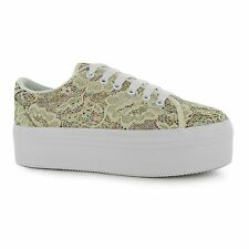 Jeffrey Campbell Play zOMG Platform Shoes Womens Cream Trainers Sneakers