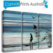 BEACH STRETCHED CANVAS ABSTRACT ART OCEAN SURF SET OF 3 PRINTS MORE IN OUR STORE