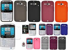 AMZER Silicone Skin Luxe Argyle Cover + xtra Case/ Screen Protector HTC Chacha