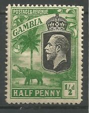 Gambia 1922-29 Fine/MLH SG 122 Sc 102 early KGV 1/2d mint green elephant