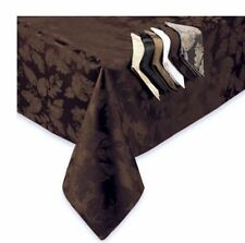 DAMASK AUTUMN HARVEST FABRIC TABLECLOTH CHOCOLATE BROWN FALL / THANKSGIVING
