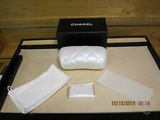 NEW AUTHENTIC CHANEL White Quilted Sunglass Hard Case