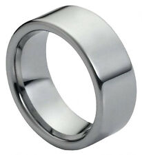 Tungsten Ring Men Women Wedding Band 9mm Polished Shiny Flat Pipe Cut Style