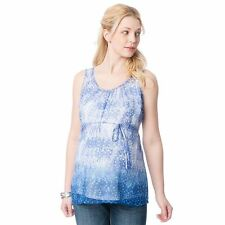 Oh Baby by Motherhood Print Shirred  Blue Tank  Maternity Sz M & XL Retail $36