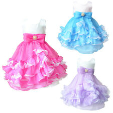 Girls Chiffon Bridesmaid Polyester Gown Dress Bead Princess Sleeveless