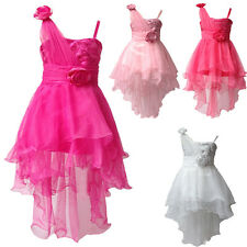 Girls Flower Princess Satin Party Dress Sequin Special Occasion Sleeveless
