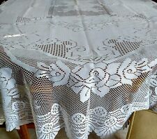 Large OVAL Lace  Floral design Tablecloth  63 x 90 Oval in ivory
