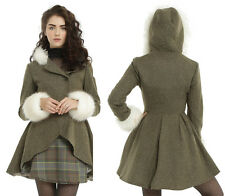 """Hot Topic """"Outlander"""" Claire Riding Trench Coat Faux Fur Tartan Jacket - Small"""
