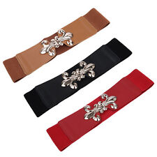 Premium Gold Fleur de lis Buckle Wide Elastic Stretch Waist Belt Waistband