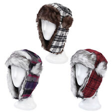 Warm Winter Plaid Faux Fur Trapper Ski Snowboard Hunter Hat - Diff Colors