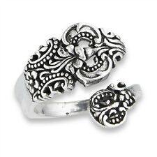 Sterling Silver Vintage-Looking Wraparound Spoon Ring Size 6-10