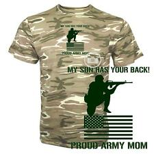 My Son Has Your Back Proud Army Mom Ladies Sand Camo Camouflage T Shirt