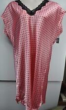 Ambrielle Woman Plus Size Nightgown Pink Black Lace Polka Dots Short Sleeve