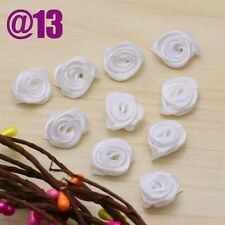 20-50pcs NEW White Mini Satin Ribbon Rose Flower Applique Patch DIY gifts Crafts