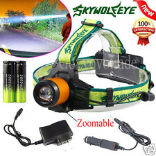 CREE XM-L T6 LED Zoomable 5000Lm Headlamp Headlight Light 18650 Battery Charger