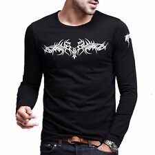 Fitted Mens T-shirt Long Sleeve Crewneck Floral Basic Black White Tee M L XL XXL