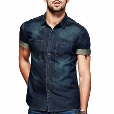 Hot ! Mens Jeans Shirt Short Sleeve Slim Fitted Button Front Blue M L XL XXL