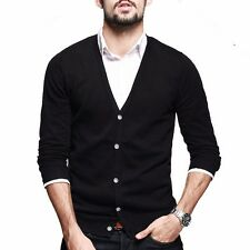Mens Casual Kintted thin Sweater Long Sleeve V neck  Cotton Cardigan Solid Slim