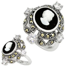Swiss marcasite natural black onyx cameo 925 sterling silver ring size 8 h52514