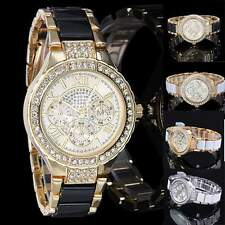 Luxury Women Ladies Crystal Bracelet Leather Analog Quartz Wrist Watch WHT