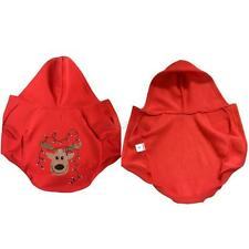 Red Pet Dog Cat Christmas Clothes Warm Winter Puppy Hoodie Jumpsuit Costume E90