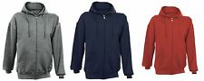 New Full Zip Hoodie Plain Color Sweatshirt Men With Fleece Cotton M-2XL