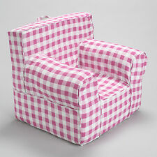 INSERT FOR POTTERY BARN ANYWHERE CHAIR INCLUDES PINK GINGHAM SLIP COVER OVERSIZE
